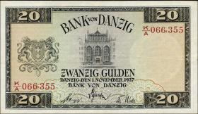 R.844b: Danzig 20 Gulden 1937 (3+)