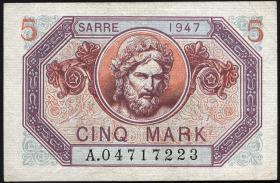 R.869: Saarland 5 Mark 1947 (1-)