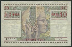 R.870: Saarland 10 Mark 1947 (3+)