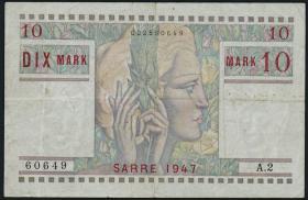 R.870: Saarland 10 Mark 1947 (3-)