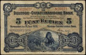 R.900: Deutsch-Ostafrika 5 Rupien 1905 No.20671 (3)