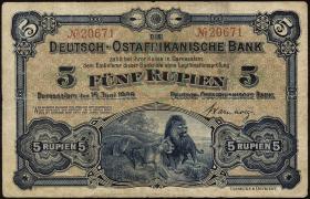 R.900: Deutsch-Ostafrika 5 Rupien 1905 No.20671 (3)