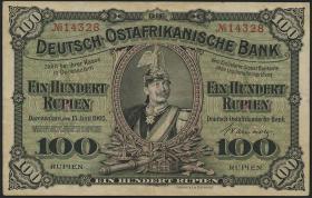 R.903b: Deutsch-Ostafrika 100 Rupien 1905 (3+)