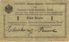 R.916a: Deutsch-Ostafrika 1 Rupie 1915 B (3) Unterschrift Seidenschwarz