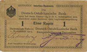 R.916e: Deutsch-Ostafrika 1 Rupie 1915 C (3) Nummern handschriftlich