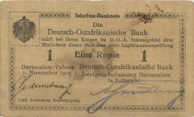 """R.917d: Deutsch-Ostafrika 1 Rupie 1915 D (3) """"Seidenschwarz"""""""