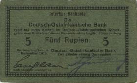 """R.921a: Deutsch-Ostafrika 5 Rupien 1915 D (3) """"Neugebauer"""""""
