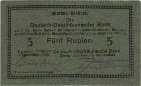 """R.921b: Deutsch-Ostafrika 5 Rupien 1915 E (1/1-) """"Seidenschwarz"""""""