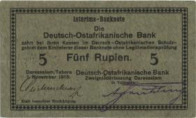 R.921d: Deutsch-Ostafrika 5 Rupien 1915 E (3+)