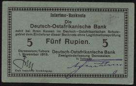 R.921e: Deutsch-Ostafrika 5 Rupien 1915 E (1)