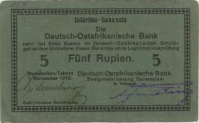 "R.921f: Deutsch-Ostafrika 5 Rupien 1915 E (2+) ""Seidenschwarz"""