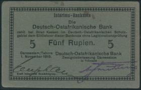 R.921h: Deutsch-Ostafrika 5 Rupien 1915 F (1-)