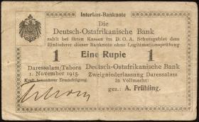 R.932c: Deutsch-Ostafrika 1 Rupie 1915 mit Überdruck Z (3-)