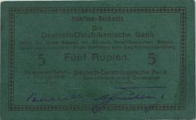"""R.933k: Deutsch-Ostafrika 5 Rupien 1916 G (1/1-) """"handschriftlich"""""""