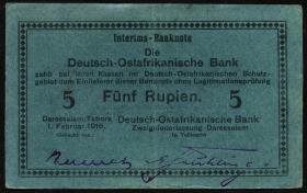 R.933n: Deutsch-Ostafrika 5 Rupien 1916 H (2)