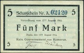 R.962: Kamerun 5 Mark 1914 (3+)
