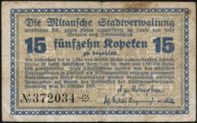 Lettland / Latvia LE 40: 15 Kopeken 1915 Mitau (3-)