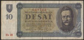 Slowakei / Slovakia P.06a 10 Korun 1943 (3)