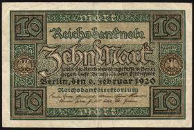 R.063b: 10 Mark 1920 ohne Unterdruck Buchstaben (3)