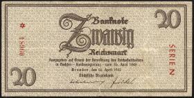 R.184a: 20 Reichsmark 1945 Sachsen (3-)