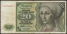 R.264f 20 DM 1960 Z/A Ersatznote (3-)