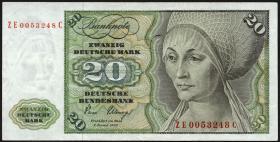 R.287b 20 DM 1980 ZE/C Ersatznote (3+)
