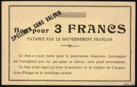 R.427: Frankreich 3 Francs (1915) Specimen (1-)