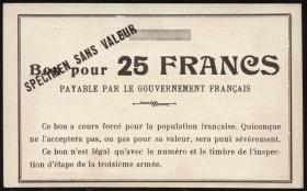 R.430: Frankreich 25 Francs (1915) Specimen (1-)