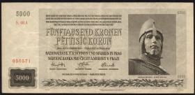 R.568a: Böhmen & Mähren 5000 Kronen 1944 (3+)