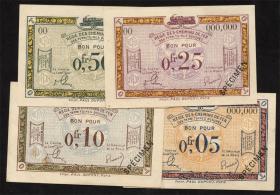 R.855/58: Rheinland 0,05 - 0,50 Franc (1923) Specimen (2/1)