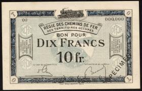 R.861c: Rheinland 10 Francs (1923) Specimen (1/1-)