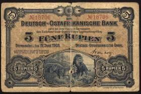 R.900: Deutsch-Ostafrika 5 Rupien 1905 S:18706 (4)
