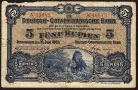 R.900: Deutsch-Ostafrika 5 Rupien 1905 S:49642 (4)