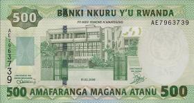 Ruanda / Rwanda P.34 500 Francs 2008 (2010) (1)