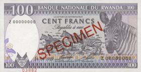 Ruanda / Rwanda P.19s 100 Francs 1989 Specimen (1)