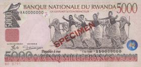 Ruanda / Rwanda P.28s 5000 Francs 1998 Specimen (1)