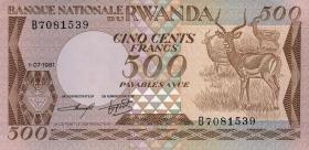 Ruanda / Rwanda P.16 500 Francs 1981 (2/1)