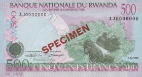 Ruanda / Rwanda P.26s 500 Francs 1998 Specimen (1)