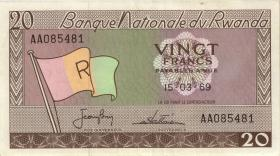 Ruanda / Rwanda P.06a 20 Francs 1969 (2)