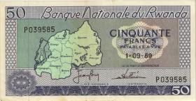 Ruanda / Rwanda P.07a 50 Francs 1969 (3+)