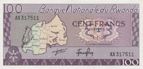 Ruanda / Rwanda P.08d 100 Francs 1976 (1)