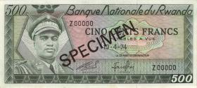 Ruanda / Rwanda P.11s 500 Francs 1974 Specimen (1)