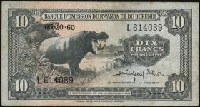 Ruanda / Rwanda Burundi P.02 10 Francs 1960 (3)