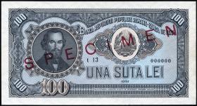 Rumänien / Romania P.090s 100 Lei 1952 Specimen (1)