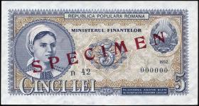 Rumänien / Romania P.083s 5 Lei 1952 Specimen (1)