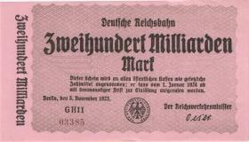 RVM-20 Reichsbahn Berlin 200 Milliarden Mark 1924 (1/1-) 5-stellig