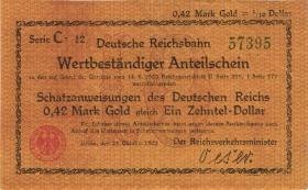 RVM-23a Reichsbahn Berlin 0,42 Mark Gold = 1/10 Dollar 23.10.1923 (1/1-)