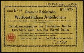 RVM-24 Reichsbahn Berlin 1,05 Mark Gold = 1/4 Dollar 23.10.1923 (1-)