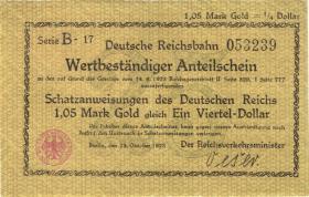 RVM-24 Reichsbahn Berlin 1,05 Mark Gold = 1/4 Dollar 23.10.1923 (2)
