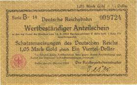 RVM-24 Reichsbahn Berlin 1,05 Mark Gold = 1/4 Dollar 23.10.1923 (3)